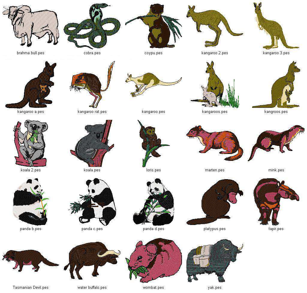 Linaria Dalmatica Designs Wild Animal Collection Vol 1 4x4 Quot Amp 5x7 Quot Hoop Sizes